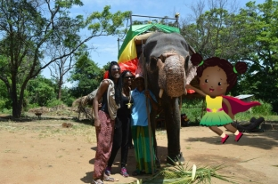 Kai and TMK in Sri lanka with Sonia the elephant!
